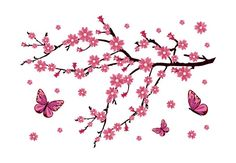 Cherry Blossom Branch with Butterflies Wall Decal - Vinyl Sticker Removable Wall Decals, Vinyl Wall Decals, Butterfly Wall Decals, Wedding Prints, Stitch Design, Spring, Drawings, Flowers, Cherry Blossoms