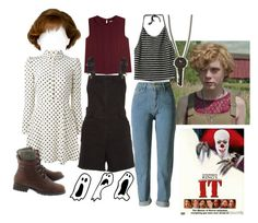 """""""Beverly Marsh - It (2017)"""" by edgy-grandma ❤ liked on Polyvore featuring RED Valentino, Maje, StyleNanda and The Giving Keys"""