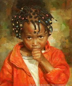 Painted by french artist Kiéra Malone - Adorable, this portrait shows an uncertain toddler sucking a thumb in bold colour. -- Gallery has a few other good works, but this one is particularly striking.