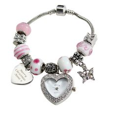 Personalised Pink Watch Charm Bracelet Large Present