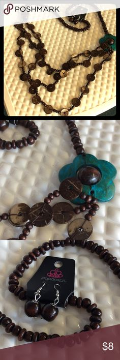 Brown & turquoise wood necklace w/ earrings Brown & turquoise extra long wood necklace w/ earrings Jewelry Necklaces