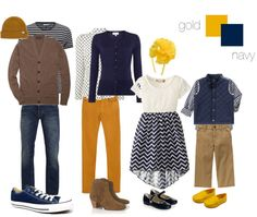 Fall family pictures: what to wear. #Navy and #gold shopable sets, styled by Kate L Photography, a NAPCP member photographer.