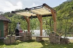 Pergola With Glass Roof Referral: 5070296801 Patio Roof, Pergola Patio, Pergola Plans, Backyard, Rustic Pergola, Wooden Pergola, Corner Pergola, Pergola Shade, Gazebo