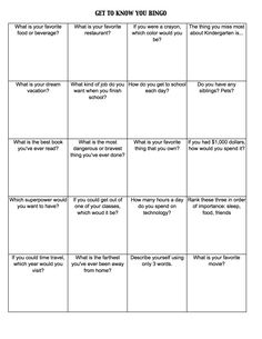 get to know you worksheets | Get To Know You Bingo (c) Kristen Dembroski