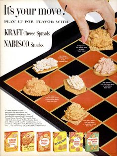 Kraft Cheese Spreads & NABISCO Snacks, 1962 Weird Vintage Ads, Vintage Food, Retro Food, Vintage Paper, Vintage Art, Retro Advertising, Retro Ads, Vintage Advertisements, Retro Recipes
