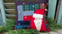 Primitive Stitchery Santa Wool Shelf tuck, bowl filler, shelf sitter, pillow #NaivePrimitive #Artist Primitive Pillows, Primitive Stitchery, Bowl Fillers, Christmas Stockings, Shelf, Santa, Wool, Holiday Decor, Artist