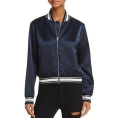 Frame Varsity Satin Bomber Jacket (485 AUD) ❤ liked on Polyvore featuring outerwear, jackets, summer navy, navy blue jacket, satin bomber jackets, navy blue satin jacket, navy satin jacket and navy blue bomber jacket