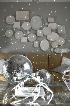 disco ball in the living room www.thenester.com