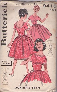 MOMSPatterns Vintage Sewing Patterns - Butterick 9415 Vintage 60's Sewing Pattern KNOCK OUT Rockabilly Quick & Easy Scoop Button Back or Shirtwaist FULL Flared Skirt Dance Party Cocktail Dress