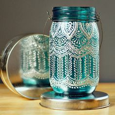 Hand Painted Mason Jar Lantern, with Peacock Blue Glass and Pearl White Eccents