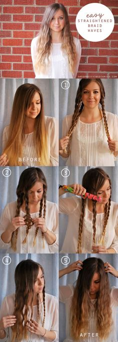 Make waves in your hair by braiding it into two sections and running a flat-iron over it.