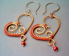 Wire Wrapped Heart Copper Earrings wire wrapped by GearsFactory