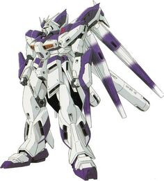 """The RX-93-ν2 Hi-ν Gundam (pronounced """"High-New"""") is an alternate interpretation of the ν Gundam which appears in Mobile Suit Gundam: Beltorchika's Children. It is piloted by Amuro Ray."""