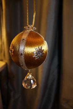 gold satin crystal ornament