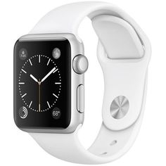 Apple Watch Sport 38mm Silver Aluminum Case with White Sport Band found on Polyvore featuring jewelry, watches, electronics, silver jewellery, sport jewelry, sports wrist watch, white wrist watch and sport watches