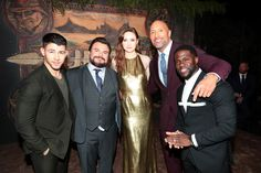 Columbia Pictures Los Angeles premiere of JUMANJI: WELCOME TO THE JUNGLE, Hollywood, CA, USA - 11 December 2017  Hollywood, CA - December 11, 2017 - Nick Jonas, Jack Black, Karen Gillan, Dwayne Johnson and Kevin Hart at Columbia Pictures Los Angeles premiere of JUMANJI: WELCOME TO THE JUNGLE