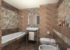 Плитка пэчворк в интерьере ванной комнаты фотография