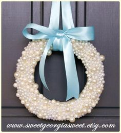 Beautiful pearl wreath from Sweet Georgia Sweet www.sweetgeorgiasweet.etsy.com  https://www.facebook.com/SweetGeorgiaSweet