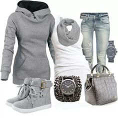 Love the gray and white for winter my style in 2019 модные наборы, мода. Looks Cool, Looks Style, Style Me, Grey Style, Fall Winter Outfits, Autumn Winter Fashion, Winter Wear, Casual Outfits, Cute Outfits