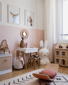 We just can't get enough of this gorgeous child's play corner by 👈🏻 featuring the Miffy lamp, Ferm Living KuKu doll bed and… Baby Bedroom, Nursery Room, Girls Bedroom, Bedroom Ideas, Room Girls, Girl Nursery, Diy Kids Room, Ideas Habitaciones, Play Corner
