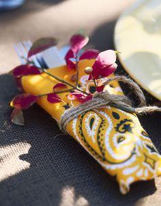 42 Creative Ways to Craft with Bandanas. Love bandanas as napkins; Bandanas, Wedding Gift Cutlery, Bandana Crafts, Bandana Ideas, Cowgirl Party, Western Parties, Arts And Crafts, Diy Crafts, Western Theme