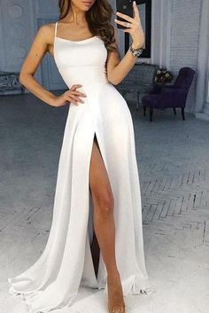 Simple White Scoop High Slit Satin Prom Dresses Long Cheap Prom Gowns on sale  smilepromdress-es ...to be the most versatile color you can easily dress up and down. But in formal occasions where a woman obviously needs to dress up even the simplest ...-formal gatherings longer dresses are deemed more appropriate for more formal affairs.Amazingly white formal dresses do not even cost a lot. Sure de #MayLifeStyle.com #dresses-formal-white #fashions