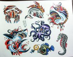 New Traditional Tattoo Flash Sheet