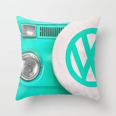 VW Camper Van Throw Pillow by Alice Gosling