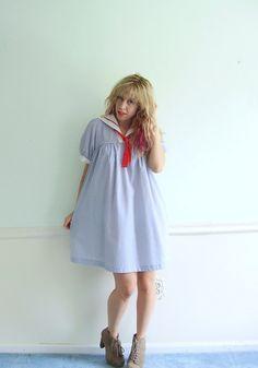 Nautical Mini Sailor Dress  Ascot Tie and Bib by VonlenskaVintage, $47.00