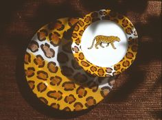 charger and dessert plate Panthere so jungle! (#safari, #out of africa, #jungle) Jungle collection, safari, , Dinnerware, porcelain, Africa, hand made,FRAGILE by Patricia Deroubaix.Limoges France