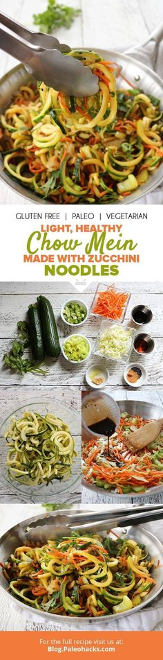Takeout gets a Paleo spin with fresh chow mein zucchini noodles. Spiralized zucc