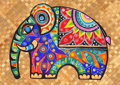 Elephant painting animal art colorful artwork home decor small artwork unique gift acrylic on canvas contemporary art baby elephant by TracyMcGeheeArtist on Etsy Colorful Elephant, Elephant Love, Indian Elephant Art, Tribal Elephant, Elephant Canvas, Elephant Paintings, Elephant Images, Elephant Illustration, Indian Folk Art