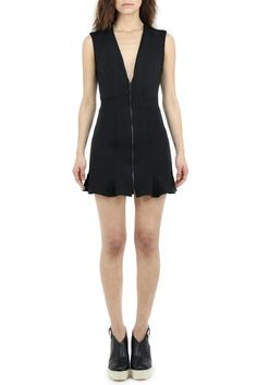 AgainstAllOdd's version of the little black dress, this fit and flare cocktail mini with plunging neckline and exposed front zipper is a total head turner.  This dress is cut in ultra comfortable black scuba knit with a black metal zipper and sporty top stitching detail.
