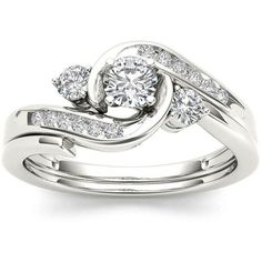1/2 CT. T.W. Diamond 10K White Gold 3-Stone Bypass Ring Set ($1,500) ❤ liked on…