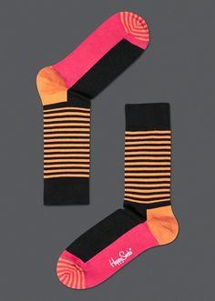 socks... (chocolate and sherbet an odd and lovely pair)  Stripe Half Socks for men & women at Happysocks.com