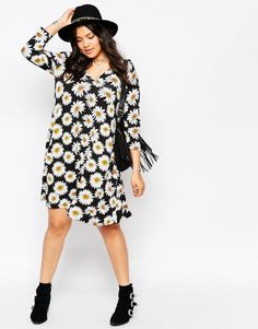 daisy swing dress| up to size 24!  grunge 90s floral vintage plus size fashion fachin dress top daisy plus free shipping asos