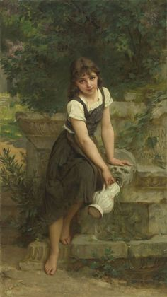At the Fountain - 1891 | Emile Munier #French, 1840-1895