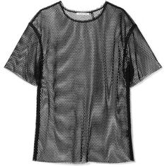 Helmut Lang Courtney fishnet T-shirt ($265) ❤ liked on Polyvore featuring tops, t-shirts, black, fishnet top, helmut lang, bra top, punk rock t shirts and helmut lang t shirt