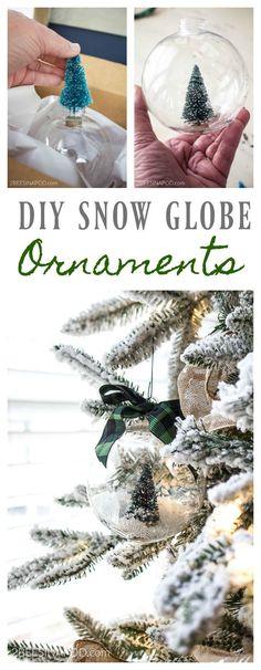 DIY Bottlebrush Christmas Tree Snow Globe Ornaments. Easy ornaments. DIY bottlebrush ornaments. Easy snow globe ornaments. Dollar tree ornaments. Christmas tree ornaments.