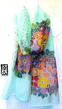 Large Silk Shawl Scarf Hand Painted, Pastel Green Kimono Floral Large Silk Scarf, Silk Chiffon Scarf. Approx 20x88 inches.    ❤ Complimentary
