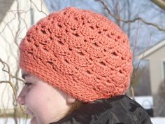 Slouchy Hat Hand Crocheted Orange Pink Color Very by WillowPrairie, $24.00