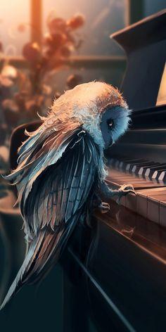 Eule am Klavier Eule am Klavier, Owl at the piano Owl Dark Fantasy Art, Fantasy Kunst, Fantasy Artwork, Dark Art, Digital Art Fantasy, Cute Animal Drawings, Art Drawings, Music Drawings, Music Artwork