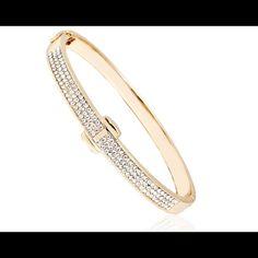 Bangle 18k gold plated bangle with swarovski elements Jewelry Bracelets