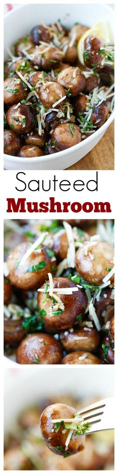 Garlic Herb Sauteed Mushrooms – best & easiest mushroom recipe that takes only 10 mins. Saute the mushrooms with olive oil, garlic, parsley, and top with Parmesan cheese | rasamalaysia.com