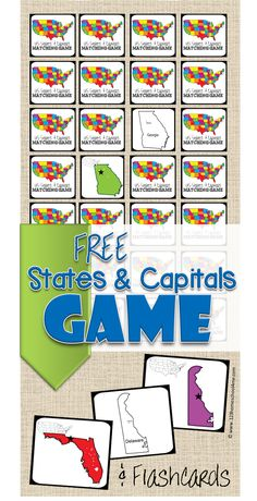 FREE States Capitals Game and US State and state capitals flashcards to learn about the United State in Kindergarten grade grade grade grade grade and grade kids (homeschool geography) Us Geography, Teaching Geography, Teaching Kids, Kids Learning, Learning Tools, 5th Grade Geography, Geography Activities, Student Teaching, Summer Activities