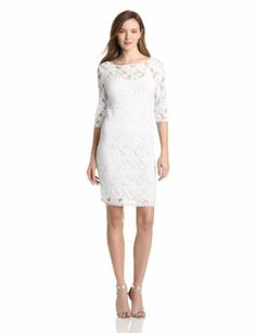 Three Dots Women's 3/4 Sleeve Lace Dress with Cami Slip