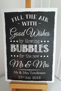 personalised FILL THE AIR GOOD WISHES BUBBLES wedding sign chalkboard style in…