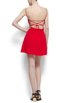 Red Crossed-Strap Back Mango Dress