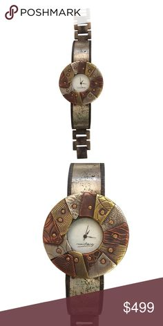 """Limited Edition """"POTRO"""" Watch (19/200) Sterling silver, brass and copper scrap pieces are arranged and riveted on a round steeler washer. Both case and band are made of solid brass, then distressed and oxidized. Watchcraft Accessories Watches"""