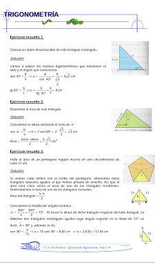 BLOG DEL DEPARTAMENTO DE CIENCIAS Y TECNOLOGÍA : Ejercicios resueltos de trigonometría para 4°